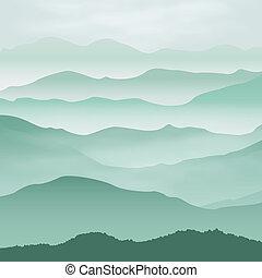 mountains, in, den, fog., bakgrund.