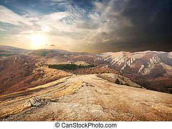mountains, in, höst