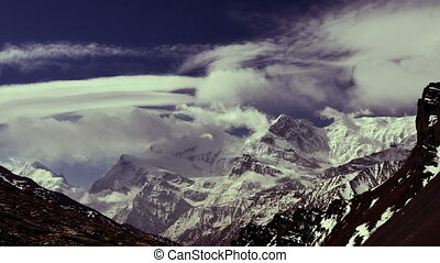 Mountains in Himalaya. Time-lapse. - Time-lapse. Wind and...