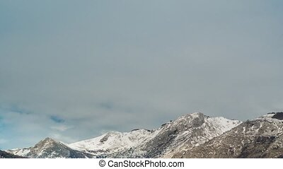 Mountains in Montenegro in the snow, near the coast. Budva.