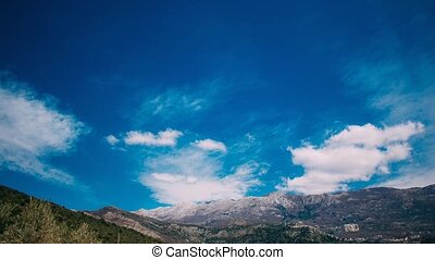 Mountains in Montenegro in the snow, near the coast. Budva.
