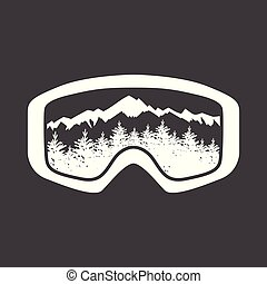 mountains in reflection of ski mask lens.