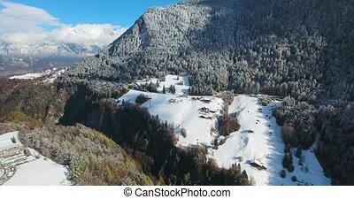 mountains in switzerland at winter time aerial view - alps...