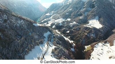 mountains in switzerland at winter time aerial view