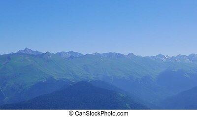 Mountains in the blue haze. Rosa Khutor. Sochi, Russia