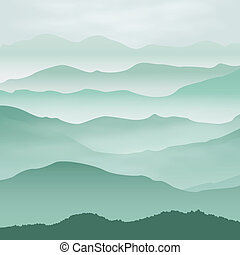 Mountains in the fog. Background. EPS10 vector.