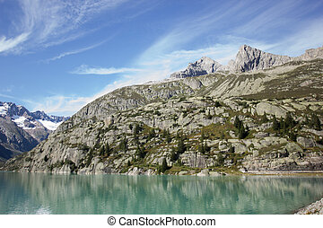 Mountains in the swiss alps on a summer day
