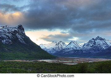 Mountains in Tierra del Fuego, - Mountain view in Tierra del...