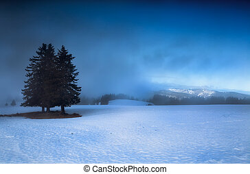 mountains in winter with dense fog