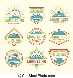 Mountains isolated vector colored vintage badges
