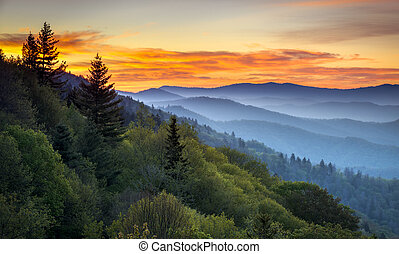 mountains, ivrig, förbise, cherokee, scenisk, rökig, nc, parkera, gatlinburg, tennessee, soluppgång, mellan, oconaluftee, medborgare, landskap