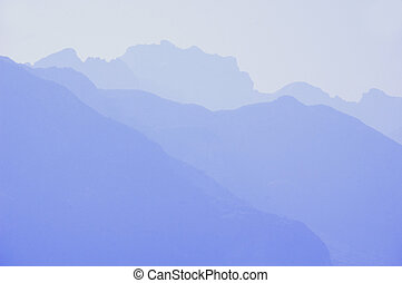 Silhouette of the mountains La tournette in Annecy