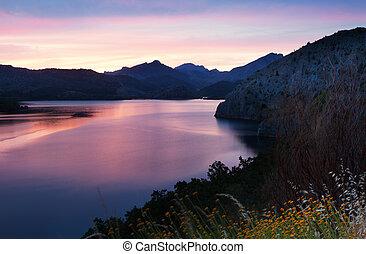 mountains lake in summer dawn