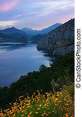 mountains lake in summer morning time