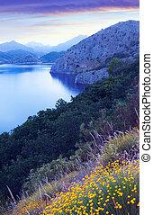 mountains lake in summer twilight