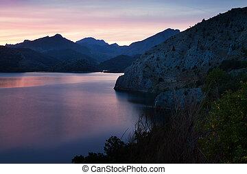 mountains lake in sunrise