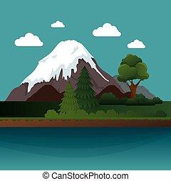 mountains landscape beautiful icon