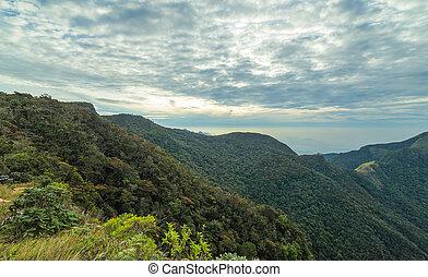 Mountains Landscape cloud forest. Worlds End in Horton Plains National Park Sri Lanka.
