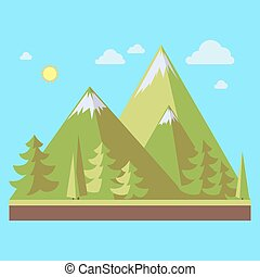 Mountains landscape flat