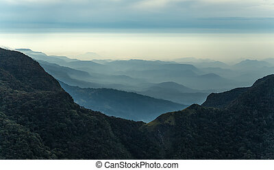 Mountains Landscape. Hills skyline Worlds End in Horton...