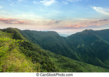 Mountains Landscape. Hills skyline Worlds End in Horton Plains National Park Sri Lanka.
