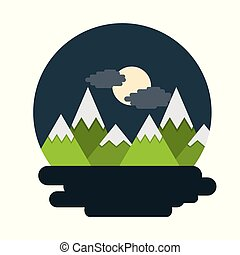 mountains landscape night moon cloud scene