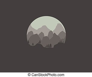 mountains landscape of nature on a dark background