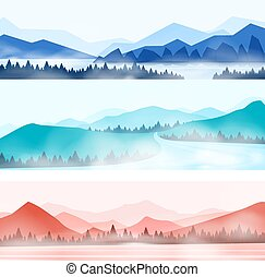 Mountains landscape. Silhouette panorama of foggy forest and snowy mountain peaks, nature outdoor panorama. Vector wood and mountains