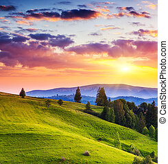 mountains landscape - Majestic sunset in the mountains...