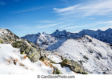Mountains landscape, sunny day in Tatras