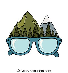mountains landscape with eyeglasses