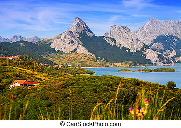 mountains landscape with lake