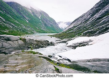 Mountains landscape with river