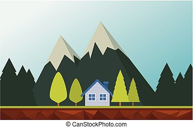Mountains landscape with the house