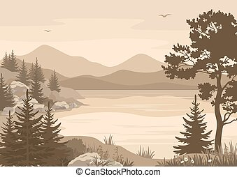 Mountains Landscapes, Lake, Trees and Birds