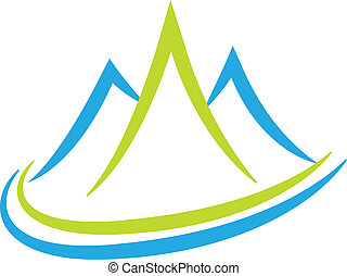 Mountains logo - Vector of mountains icon