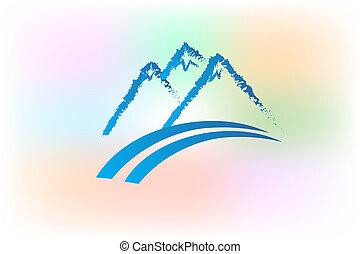 Mountains logo grunge vector design