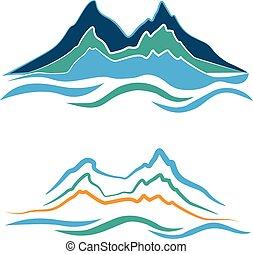 Set of stylized illustration alpine landscape with snowy mountains