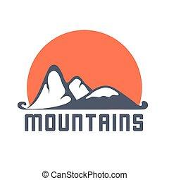 Mountains logo with sun , vector icon illustration