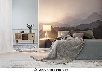 Mountains lover open space bedroom - Illuminated mountains...