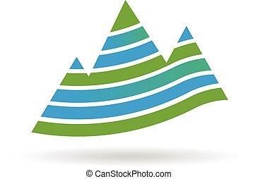 mountains, med, stripes, logo., vektor, grafik formge