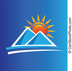 mountains, och, sol, logo, vektor