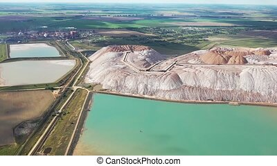 Mountains of products for the production of potash salt and ...