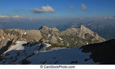 Mountains of the Alpstein Range in summer. View from Mount Santis, Switzerland.