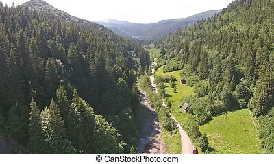 Mountains of the Carpathians view from a bird's-eye view