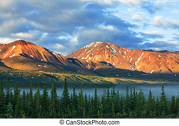 Mountains on Alaska - mountains in Alaska near Valdiz city