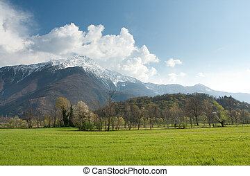 Mountains on sky background