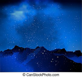mountains on the background of nigh