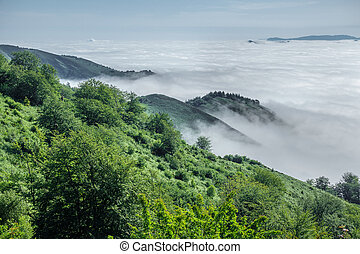 Mountains over the clouds in asturias