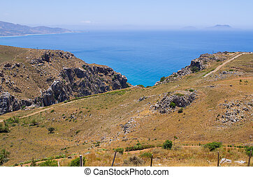 Mountains over the sea on Crete island, Greece